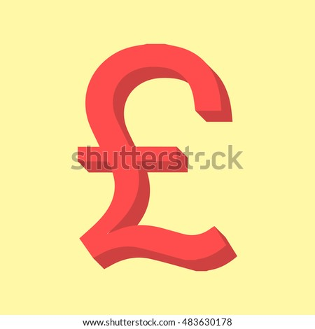 British Pound Sterling Currency Symbol Flat Stock Vector 483630178