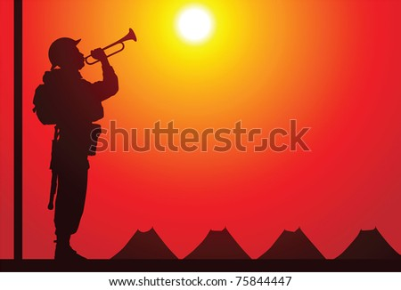 British soldier with bugle - stock vector