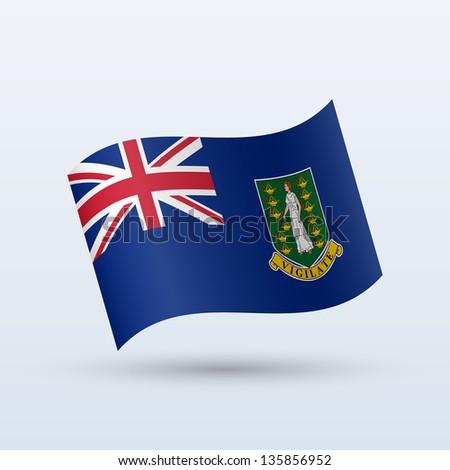 British Virgin Islands flag waving form on gray background. Vector illustration. - stock vector