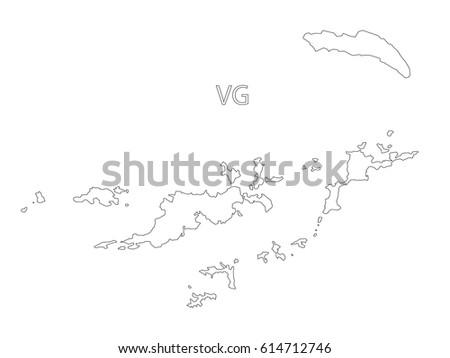 British Virgin Islands Map Outline Stock Illustration - Us virgin islands map outline