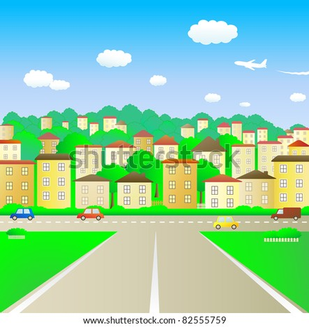 broad road leading into town - stock vector