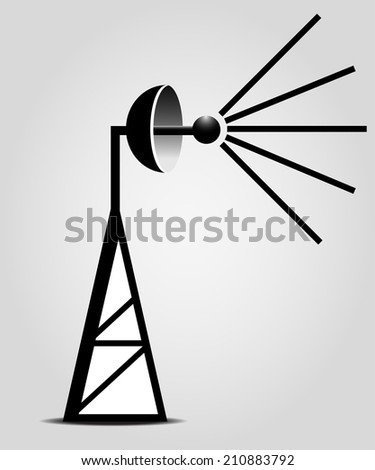 Broadcasting antenna on the grey background - stock vector