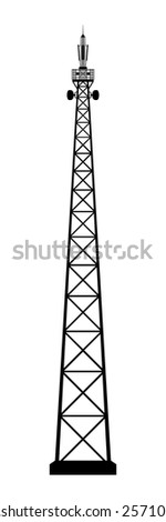 Broadcasting antenna on white background. Vector EPS10. - stock vector