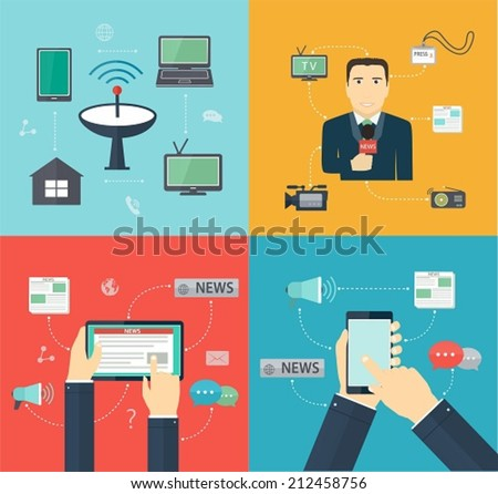 Broadcasting News via mobile devices, Journalism, Flat set Mass Media icon - stock vector