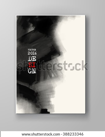 Brochure abstract inkblot background. Monochrome grunge paint design. Vector illustration. - stock vector