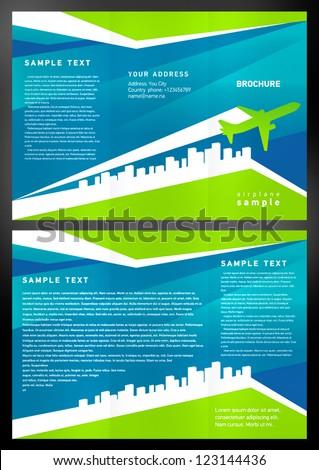 brochure airplane - stock vector