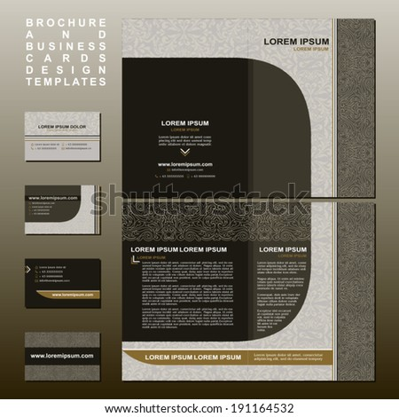 Brochure and Business cards design templates collection, retro style with vintage and modern elements, pages layouts in classic colors and creative solutions for advertising design and decoration  - stock vector