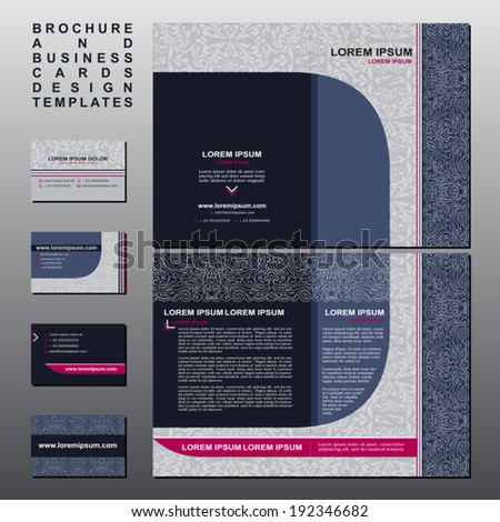 Brochure business cards design templates collection stock vector hd brochure and business cards design templates collection retro style with vintage and modern elements fbccfo Images