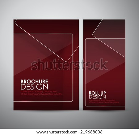 Brochure business design template or roll up with Transparent clear glass framework. - stock vector