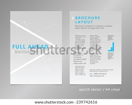Brochure, catalog, cover, page layout template. Moving ahead concept on network background. Low polygonal design, geometric sharp surfaces, minimalistic white snowy color style. Arrow shape. - stock vector