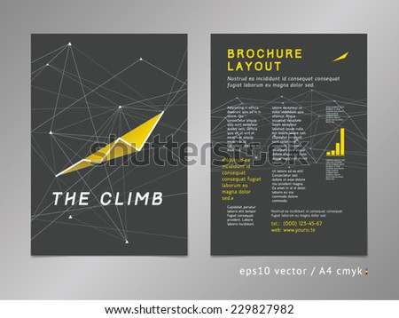 Brochure / catalog / cover / page layout template. Polygonal design, geometric sharp surfaces, minimalistic color style. Growing trend shape, chart theme. Growth and progress concept.  - stock vector