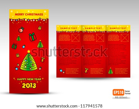 Brochure Christmas Trifold Vector Layout Design Stock Vector
