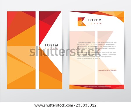 brochure cover and letterhead template design stationery set with letter k logo for business presentations- modern polygonal multicolored pattern - stock vector
