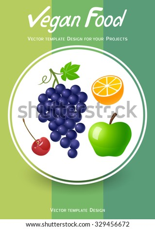 Brochure cover design with fruits icons - stock vector