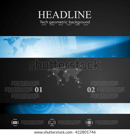 Brochure dark tech template with blue banner elements. Low poly, world map  and tech gear vector layout background - stock vector