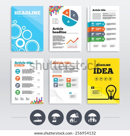 Brochure design and A4 flyers. Family, Real estate or Home insurance icons. Life insurance and umbrella symbols. Car protection sign. Infographics templates set. Vector - stock vector