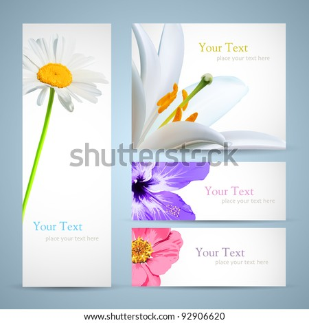 Brochure design background flyer birthday invitation stock vector flyer or birthday invitation card template layout with spring flowers stopboris Choice Image