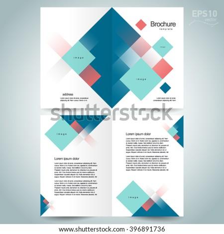 Brochure design, brochure template, brochure vector tri-fold abstract squares - stock vector