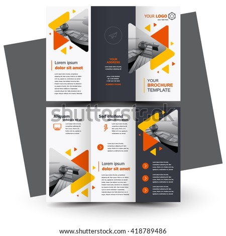 Brochure design, geometric abstract business brochure template, creative tri-fold, trend brochure triangles - stock vector