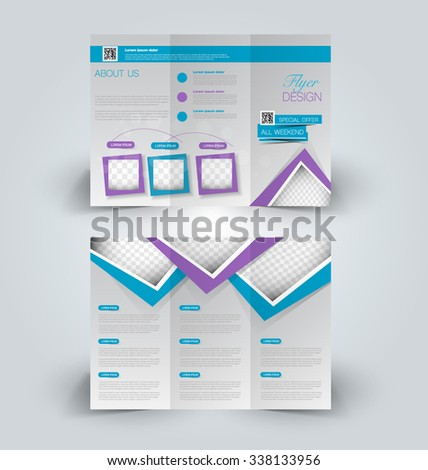 Brochure design template. Abstract background. for business, education, advertisement. Trifold booklet editable printable vector illustration.  Blue and purple color. - stock vector