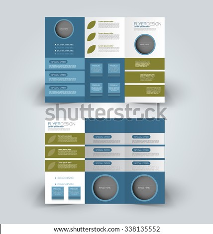 Brochure design template. Abstract background. for business, education, advertisement. Trifold booklet editable printable vector illustration. Blue and green color. - stock vector