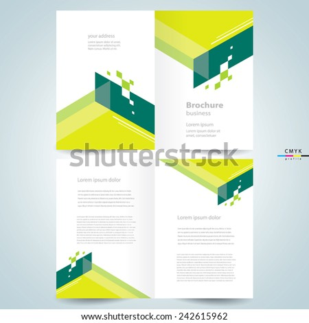 brochure design template booklet abstract geometric elements, cmyk profile - stock vector