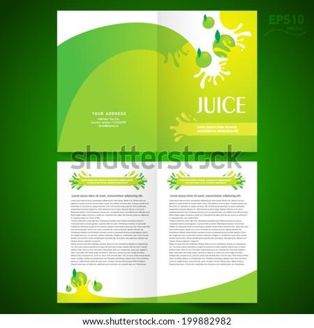 brochure design template booklet catalog fruit juice liquid drops splash green background - stock vector