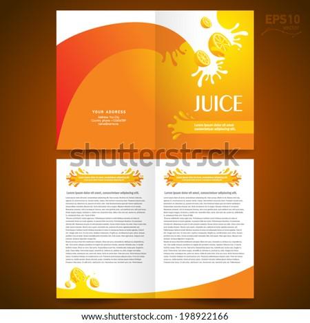 brochure design template booklet catalog fruit juice liquid drops splash orange background - stock vector