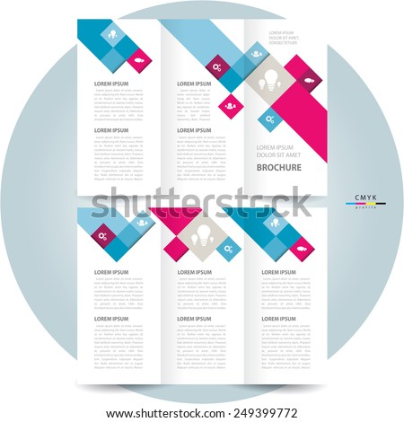 brochure design template colored squares - stock vector