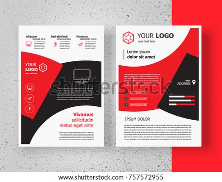 brochure design template flyer size a4 ベクター画像素材 757572955