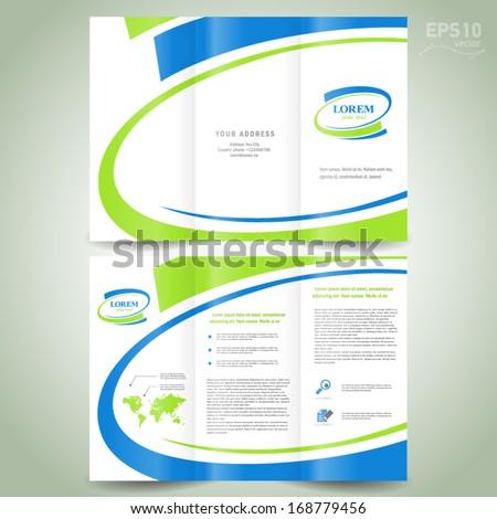 brochure design template folder leaflet green blue line element white background - stock vector