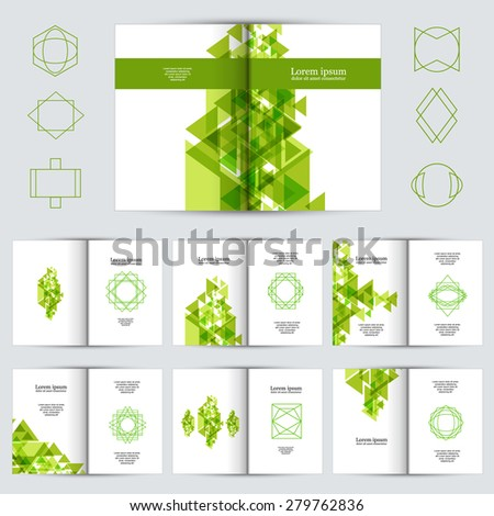 Brochure design template set, abstract figures brochures - stock vector
