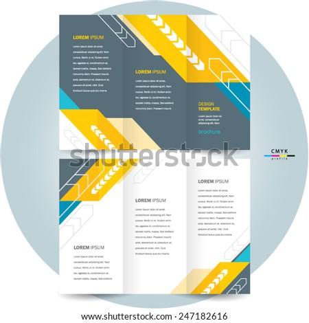 brochure design template tri-fold abstract arrows - stock vector