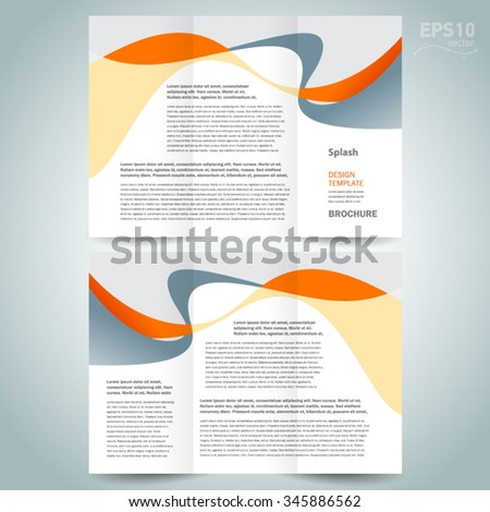 brochure design template tri-fold abstract curves ribbon - stock vector
