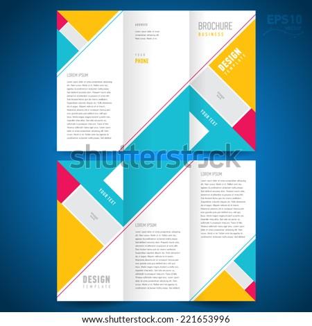 brochure design template triangles elements - stock vector