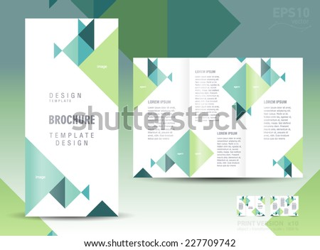 brochure design template triangles green - stock vector