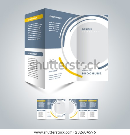 brochure design template trifold vector circle and lines - stock vector