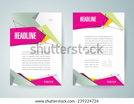 brochure design template vector flyer polygonal abstract colored, cmyk profile - stock vector