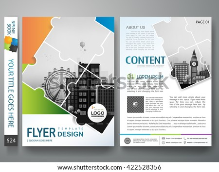 Brochure design template vector. Flyers annual report business magazine poster.Leaflet cover book presentation with abstract jigsaw pattern and flat city background. Layout in A4 size.illustration. - stock vector