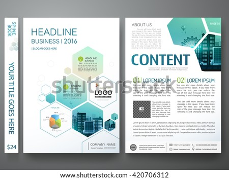 Brochure design template vector. Flyers annual report business magazine poster.Leaflet cover book presentation with abstract blue hexagon background and flat city. Layout in A4 size.illustration. - stock vector