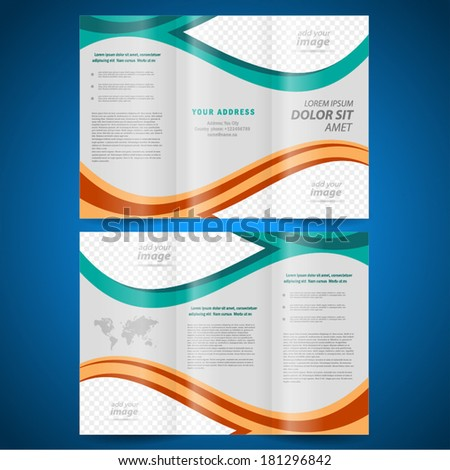 brochure design template vector folder leaflet curves abstract, frame for images - stock vector