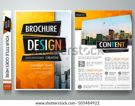 Brochure design template vector.Orange abstract geometric cover book portfolio presentation poster.City design on A4 brochure layout. Flyers report business magazine poster layout portfolio template.