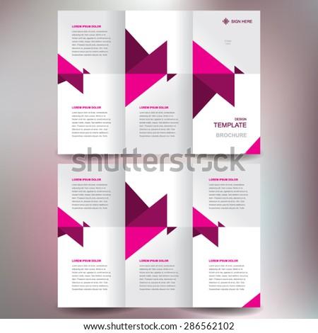 brochure design template vector tri-fold abstract triangles - stock vector