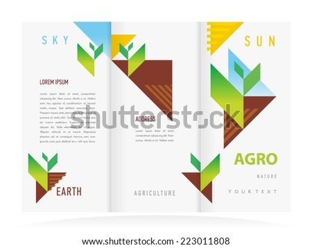 brochure design template vector tri fold agriculture nature
