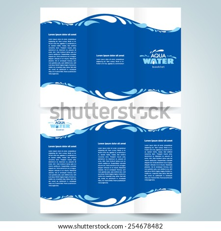 brochure design template vector water aqua splash drops blue - stock vector
