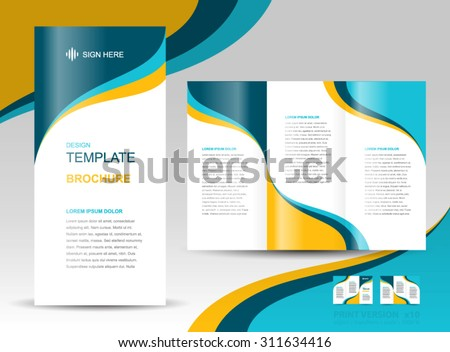 brochure design template wave curves - stock vector