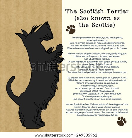 Brochure design with sketch of a sweet standing Scottish terrier, isolated on kraft paper background and space for the text. Hand drawn cartoon dog begging for a treat. - stock vector
