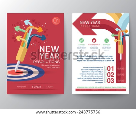 Brochure Flyer design Layout vector template in A4 size with New Year Resolutions target concept - stock vector