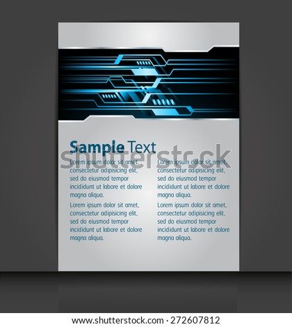 brochure, flyer, magazine cover. blue Design Template. Card Business Set. Folder. banner. label. Leaflet Abstract Technology background for computer graphic website internet. text box. - stock vector