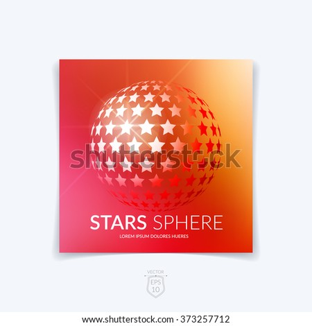 Brochure, flyer with 3D sphere of geometric stars shapes on red blurred background. Vector illustration. - stock vector